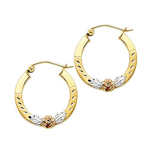 14k Tri Color Gold Fancy Flower Hoop Earrings (19mm Diameter) by GoldenMine Fine Earrings