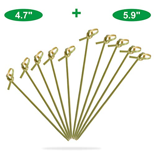 Bamboo Knot Skewers Cocktail Picks Long Toothpicks For Appetizers Drinks Sandwich Disposable Party Decoration Supplies 4.7 and 5.9 Inch Food Stick 200 Counts-MSL137