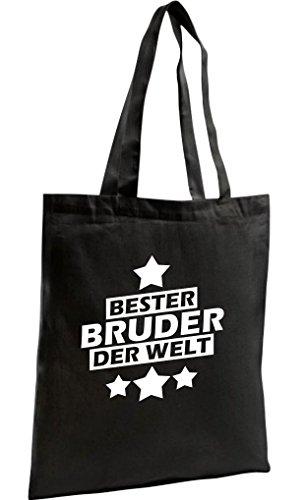 Shirtstown Shopping Bag Organic Zen, Shopper bester Bruder der Welt, schwarz