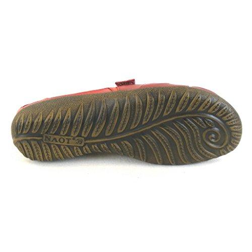 Naot Damen Schuhe Sandaletten Papaki Echt-Leder Rot Combi 14033 Wechselfußbett, Größe:36