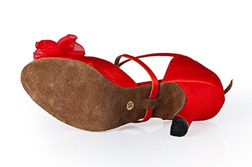 Rumba diseño de TDA de baile Rojo moderno mujer satén para Zapatos de latino flores samba FOYxOgX