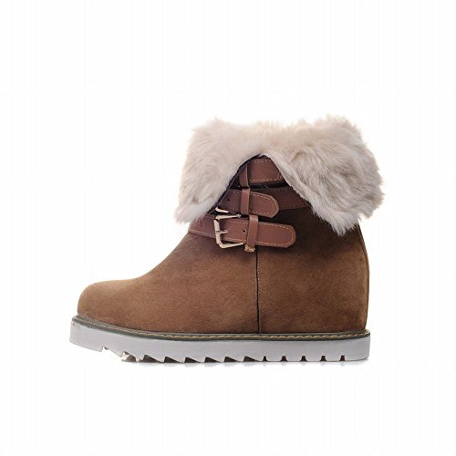 Nubuck Boots Brown Winter Heel Fur Buckle Carolbar Charm Fashion Yellow Womens Wedge Multi Snow Hidden Faux 5qg1OZx