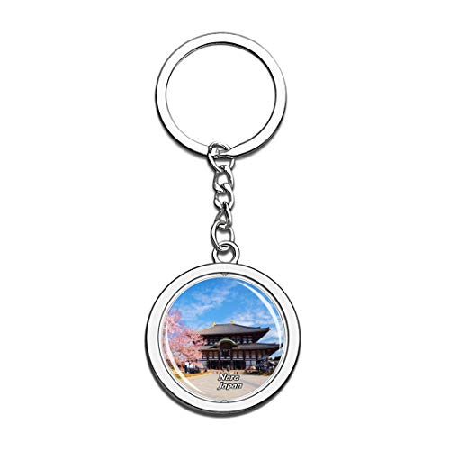 Todaiji Temple - Todai-ji Temple Nara Japan Keychain 3D Crystal Spinning Round Stainless Steel Keychains Travel City Souvenir Key Chain Ring