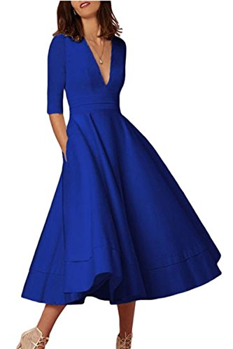 YMING Women's Half Sleeve Cocktail Deep V Neck Evening Homecoming Elegant Dress Blue M