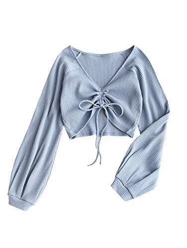 ZAFUL Women's V Neck Textured Knitted Crop Top Gathered Front Long Sleeve Casual Shirts(Gray Blue-M)