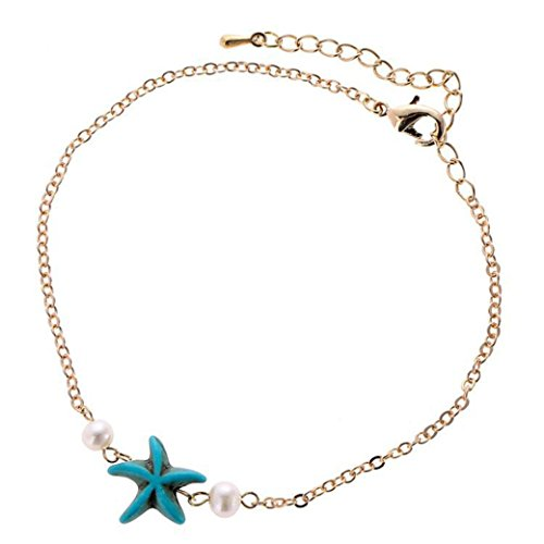 (Celendi_Jewelry Women's Anklets Bracelet Starfish Shell Beach Foot Chain for Girls)