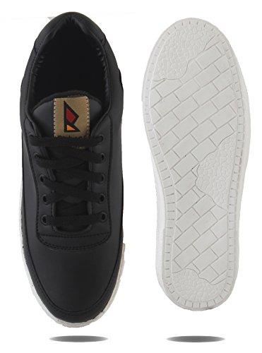 AORFEO Black Leather Look Sneaker Shoe Shoes CX64 (7)