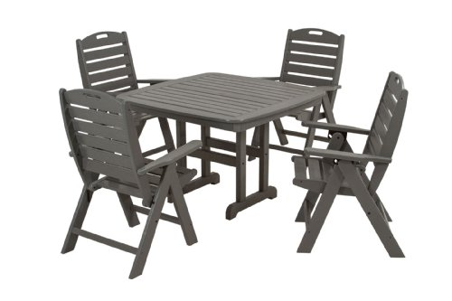 POLYWOOD PWS124-1-GY Nautical 5-Piece Dining Set, Slate Grey