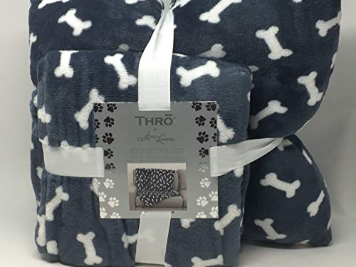 Marlo Lorenz Thro Blue Plush Throw Blanket with Coordinating Pillow with Bones - Perfect for Pets and Their Humans! (Christmas Marlo Lorenz)