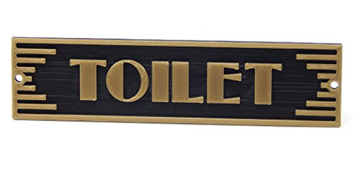 Medallurgy Toilet Door Sign Art Deco Style Plaque for Home or Office Decor, Mount to Door or Wall, Choose Brass/Gold Colored Finish - Handmade in the USA