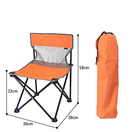 ACHDJzdy Outdoor Folding Chair Portable Fishing Chair Art Student Painting Chair Sketching Stool Old Man Bending Back Seat (Color : Small Orange) (Rocking Chair Painting Wicker)