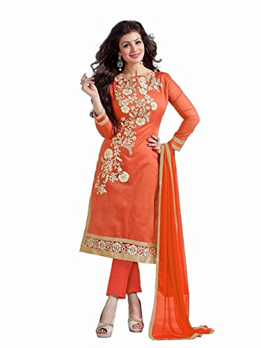Anarkali-Salwar-Kameez-Designer-Indian-Bollywood-Ethnic-Bridal-Wedding-unstitched-orange
