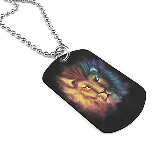 XIKEWL Dog Tag Pendant Necklace Military Chain Air Force Pendant Cool Lion Head Zinc Alloy Necklace Festival Military Necklaces for Great Gift Idea