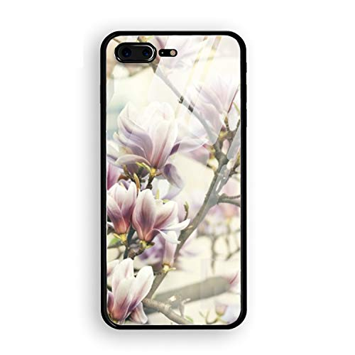 iPhone 8 Plus Case, Peach Blossoms Bloom Tempered Glass Back Case with Reinforced TPU Bumper Scratch Resistant Hard Back Panel Cover Compatible for iPhone 8 Plus