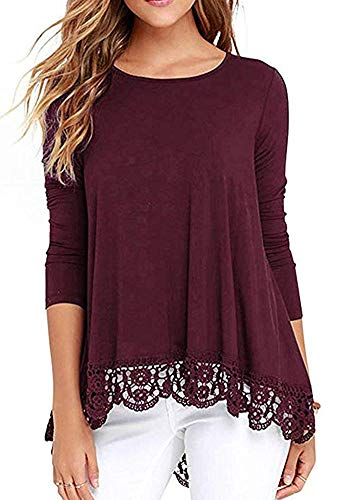 - Unidear Women's Lace Trim Long Sleeve Round Neck t Shirts Tunic Tops Burgundy#3 M