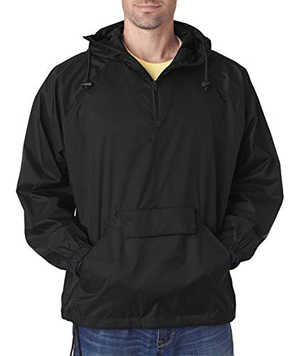 UltraClub® Adult 1/4-Zip Hooded Pullover Pack-Away Jacket - Black - M