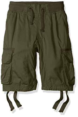 Southpole Big Boys' Jogger Shorts with Cargo Pockets in Basic Solid Colors, Olive, Medium