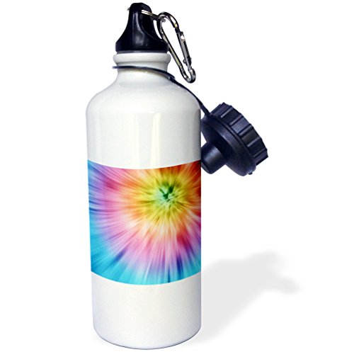 3dRose wb_49035_1 Colorful Starburst Tie Dye-Vibrant Colors Burst Out of This Attractive Tie Dye Design Sports Water Bottle, 21 oz, White