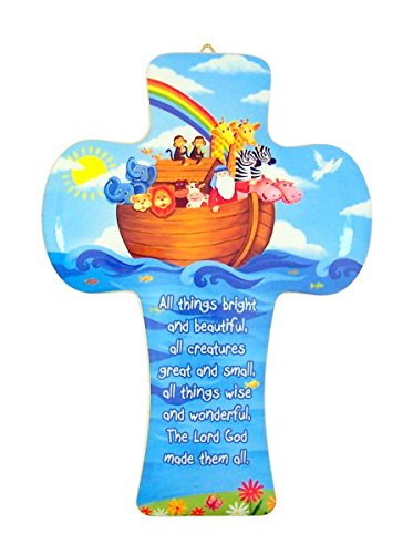 Noah's Ark with Prayer Wooden Wall Cross for Baby Nursery, 5 1/2 -