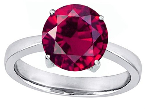 Round Ruby Solitaire (Star K Large Solitaire Big Stone Ring with 10mm Round Created Ruby Sterling Silver Size 7)