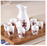 Brand New Ceramic bar set hip flask maotai sub wine liquor cup shot glass small handless winecup wine Red plum blossom