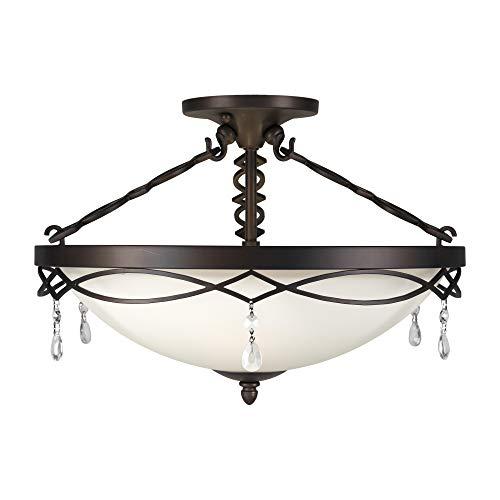 (Forte Lighting 2496-03-32 Signature 3 Light 18 inch Antique Bronze Semi Flush Mount Ceiling Light)