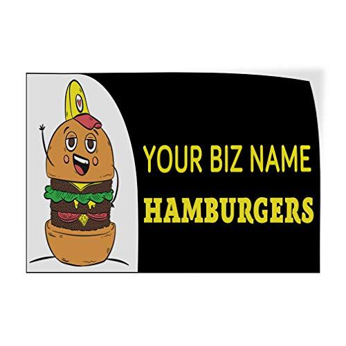 Business Name Hamburgers Black Yellow Custom Door Decals Vinyl Stickers Hamburger Black 24X18Inches