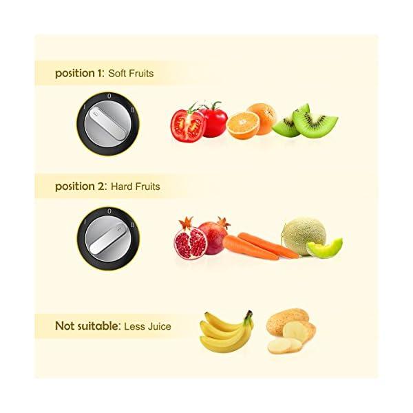 Centrifuga di MLITER 400w Frutte e Verdura Estrattore di Succo con 65mm Larga Bocca 2 Velocia' Spremigagrumi Elettrico, Lame in Acciaio Inossidabile 304 - 2020 -