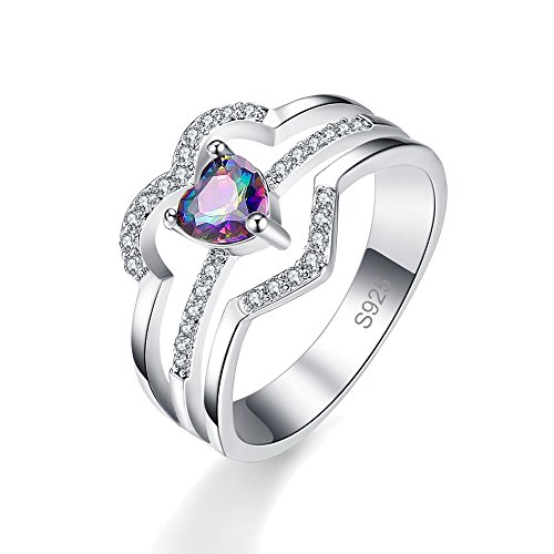 Veunora 925 Sterling Silver Created Rainbow Topaz Filled Heart Love Ring Size 9