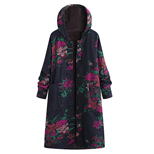 Ms Alimao fashion Autumn winter Plus Size Button Hooded Cotton Linen Fluffy Fur Print Long Coat Outwear Navy