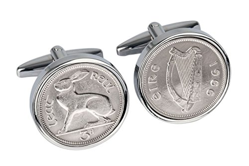 52nd Birthday- 1966 - Irish Threepence Coin Cufflinks