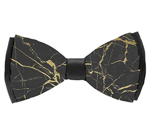 - L Wright-King Mens Bow Ties Handmade Pre-Tied Chic Black and Gold Marble Texture Bow Ties for Men