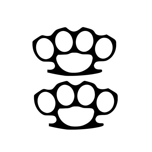 """(NOT Real) Brass Knuckles Street Fight (2 Pack) Vinyl Decal Stickers - Size: 5"""", Color: Black - Windows, Walls, Bumpers, Laptop, Lockers, etc. for sale"""