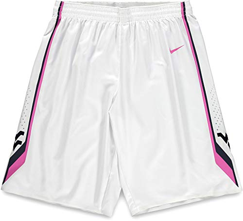 West Virginia Mountaineers Team-Issued White and Pink Shorts from the 2014-15 Basketball Season - Size 36+2 - Fanatics Authentic Certified