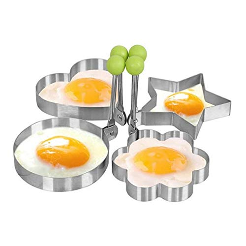 4pcs/set Thicker Stainless Steel Form For Frying Eggs Tools Breakfast Omelette Mold Device Pancake Ring Egg Shaped Kitchen ()