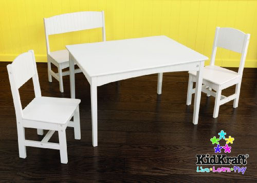 KidKraft Nantucket Wooden Table with Bench & 2 Chairs, Children's Furniture - White
