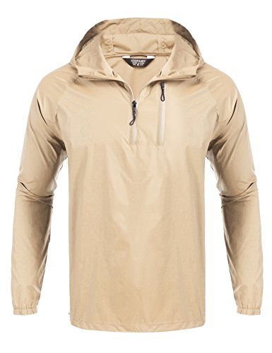 Jacket Raincoat Parka (JINIDU Men's Lightweight Waterproof Rain Jacket Packable Outdoor Hooded Long Raincoat)