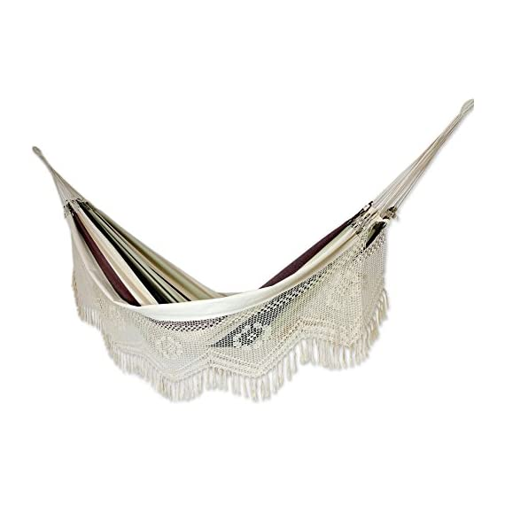 NOVICA Dark Green Brown White Stripe 2 Person Cotton Hammock with Crochet Fringe, Joyous Earth' (Double) - Authentic: an original NOVICA fair trade product in association with National Geographic Certified: comes with an official NOVICA Story Card certifying quality & authenticity Product info: 100% cotton - patio-furniture, patio, hammocks - 41rbOUgClwL. SS570  -