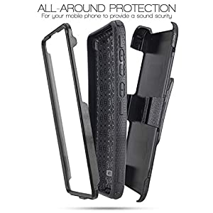 Customerfirst for Samsung Galaxy A71 5G Case [Built-in Screen Protector] Holster Belt Swivel Clip Kickstand Heavy Duty Full Body Armor Shockproof Protective Case (Black) (Color: Black, Tamaño: 6.7 inch)