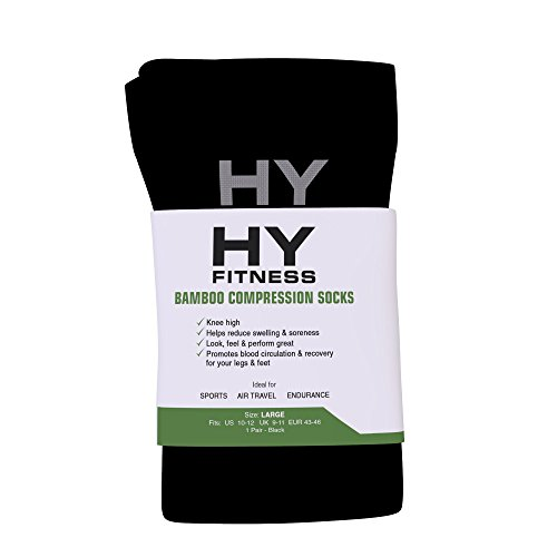 HY Fitness - Black Bamboo Compression Socks for Men & Women - For Athletic & Medical Use - Large Size - Knee High