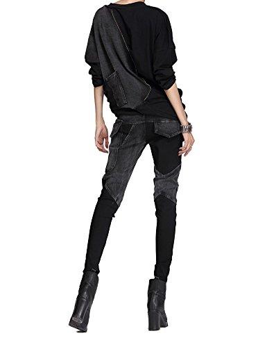 Pantalons Pantalons Slim Pantalons Style Jeans Idopy Pantalons Fit Noir1 Punk pdEPEwq