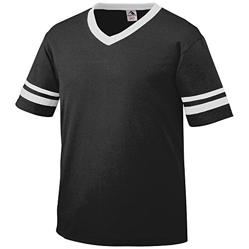 Football Jersey Tee - Augusta Sportswear Men's Sleeve Stripe Jersey, Black/White, Large