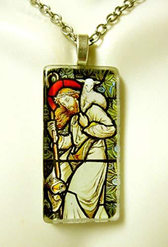 - Christ the good shepherd stained glass widow pendant - GP01-374