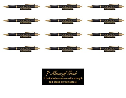 Man of God Christian Executive Pens Set of 12 Retreat Gifts, Father's Gift - Black