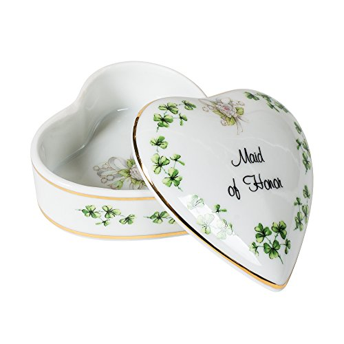 Maid of Honor Shamrocks Heart Shaped 3 x 3 Inch Porcelain Trinket Jewelry Box