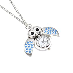 Cute Owl Clock Pendant Necklace Vintage Flying Owl Quartz Pocket Watch Gift One