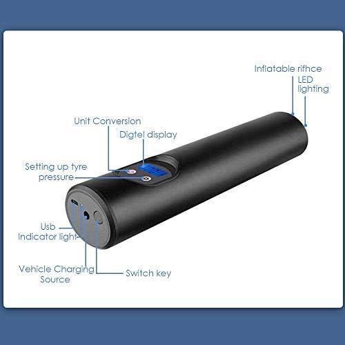 S SMAUTOP Mini Compresor de Aire Digital 2000mAH 150PSI Compresor de Aire El/éctrico Port/átil Bomba de Aire Rechargeable La Pantalla LCD Puede Mostrar Presi/ón del Aire en Tiempo Real