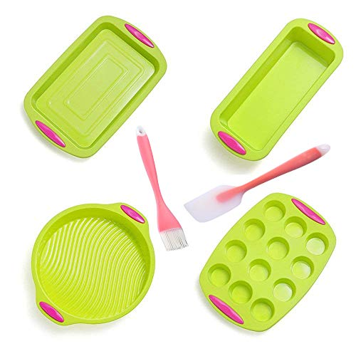 Set Silicone Bake (6 Piece Nonstick Bakeware Set - Silicone Baking Sheet of Muffin Pan, Large Baking Pan, Loaf Pan and Round Cake Mold with Pink Handle Grips, Beautiful Translucent Spatula and Brush with Angled Head)