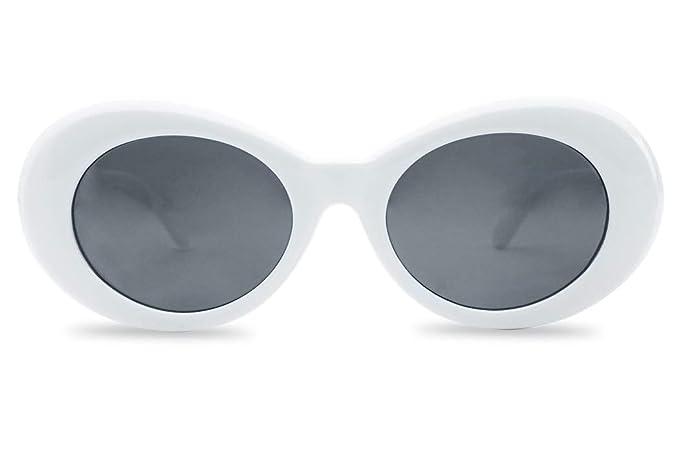 d6efa75e36 Clout Goggle Sunglasses Retro Thick Frame Original Clouted Kurt Cobain  Goggles (White Frame