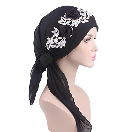 Cywulin Women's Cotton Chemo Hat Long Hair Turban Head Wraps Headwear Pre Tied Head Scarf Scarves Gift for Womens Cancer Patients (Black)